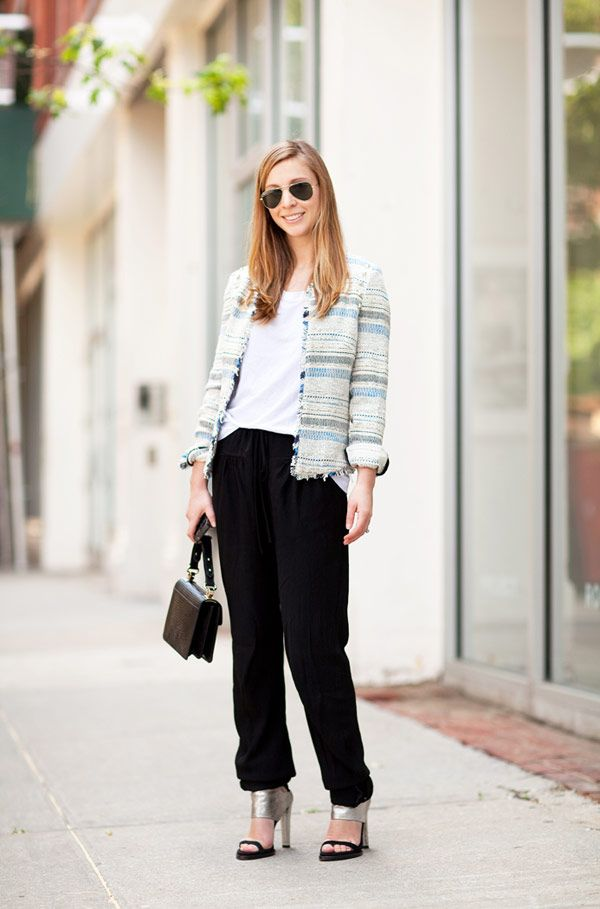 BAZAAR's Kerry Pieri adds texture to her black pants and edgy accessories with a touch of summer tweed.