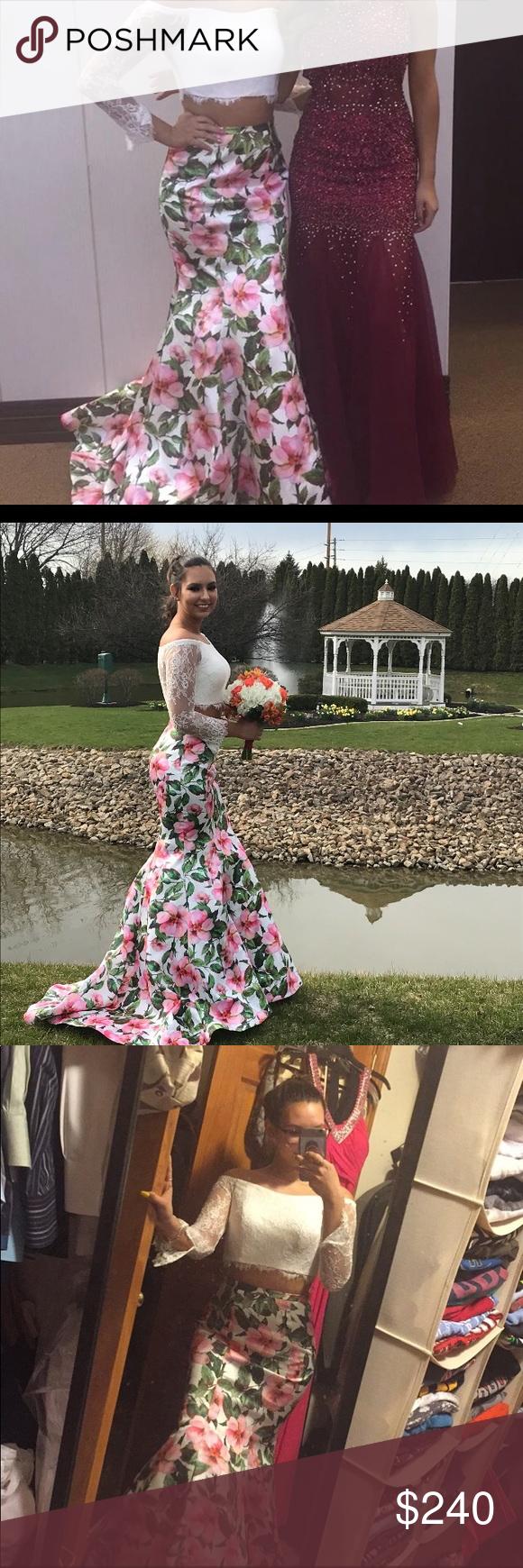 Off the shoulder floral prom dress my posh closet pinterest