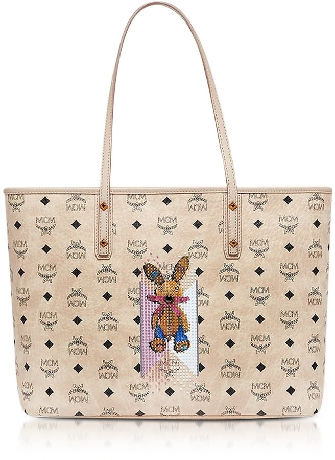 9da4ca39b MCM Visetos Studded Rabbit Beige Top Zip Medium Tote Bag   Bags for ...