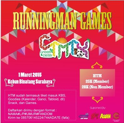 "CTMT4 : Green & Clean ""Running Man Games"" Minggu, 1 Maret 2015 At Kebun Binatang - Surabaya  http://eventsurabaya.net/ctmt4-green-clean-running-man-games/"