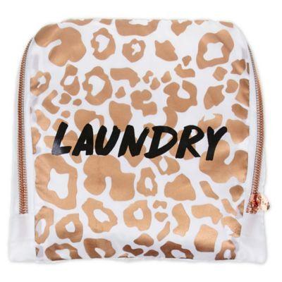 Miamica Catwalk White Leopard Travel Laundry Bag In White Gold