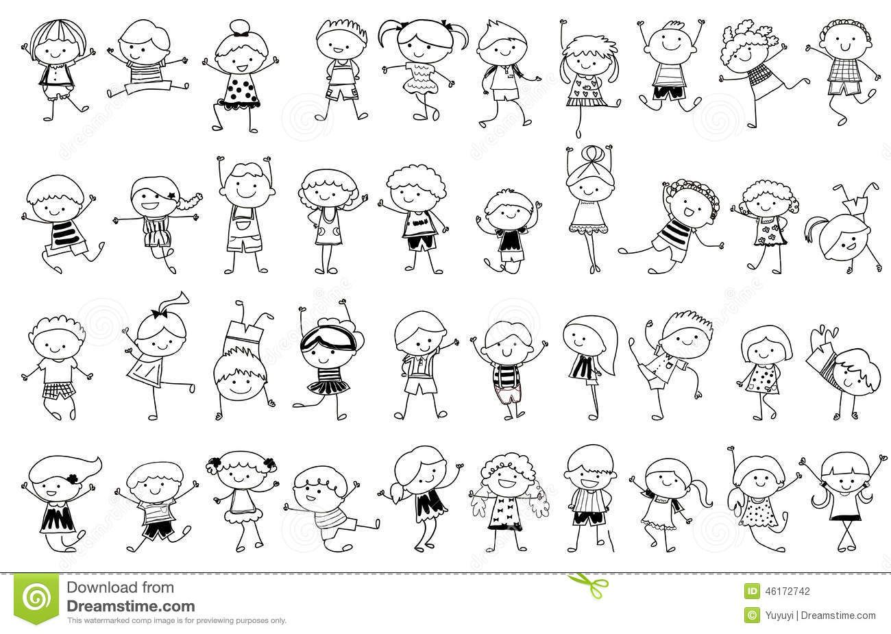 Group Of Kids,drawing Sketch Stock Vector Image