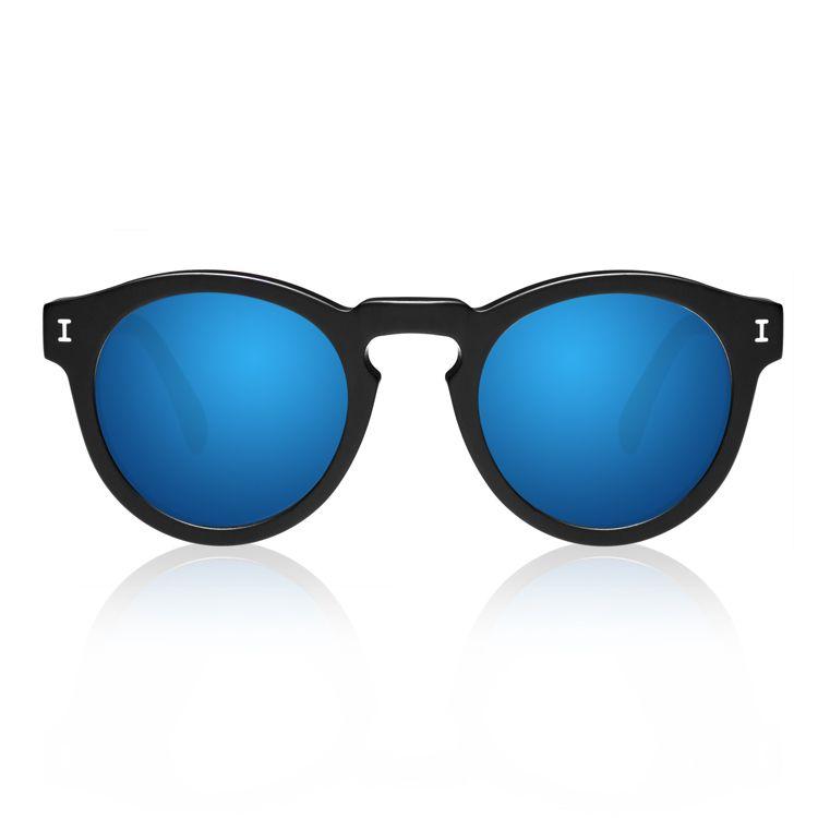 0cefbfc6393c Illesteva Leonard Matte Black with Blue Mirrored Lenses | illesteva ...