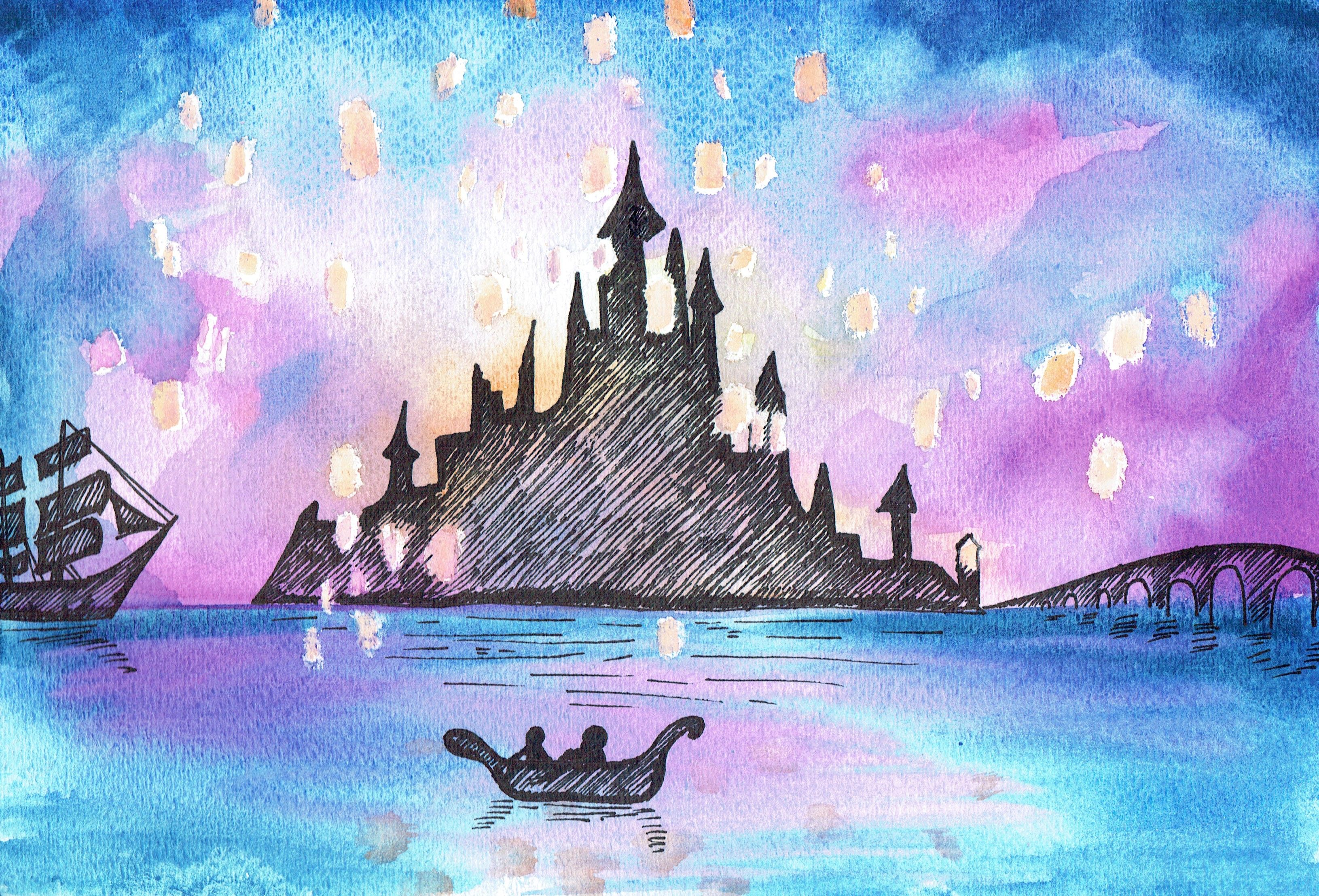 Tangled Water Colour Artwork for Kids. Paint the lanterns first ...