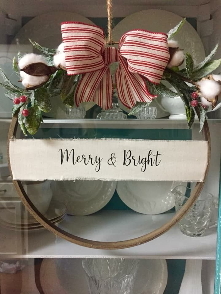 Embroidery Hoop Wreath Christmas Vinyl