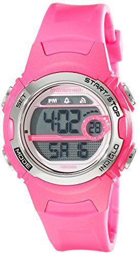 f629bd123a74 Marathon by Timex Women s T5K771 Digital Mid-Size Bright Pink Resin Strap  Watch