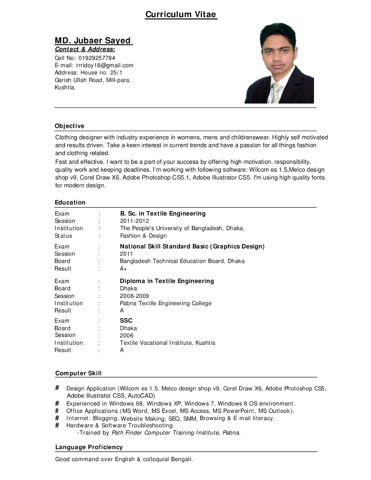 job resume samples pdf - Resume Formatting Examples