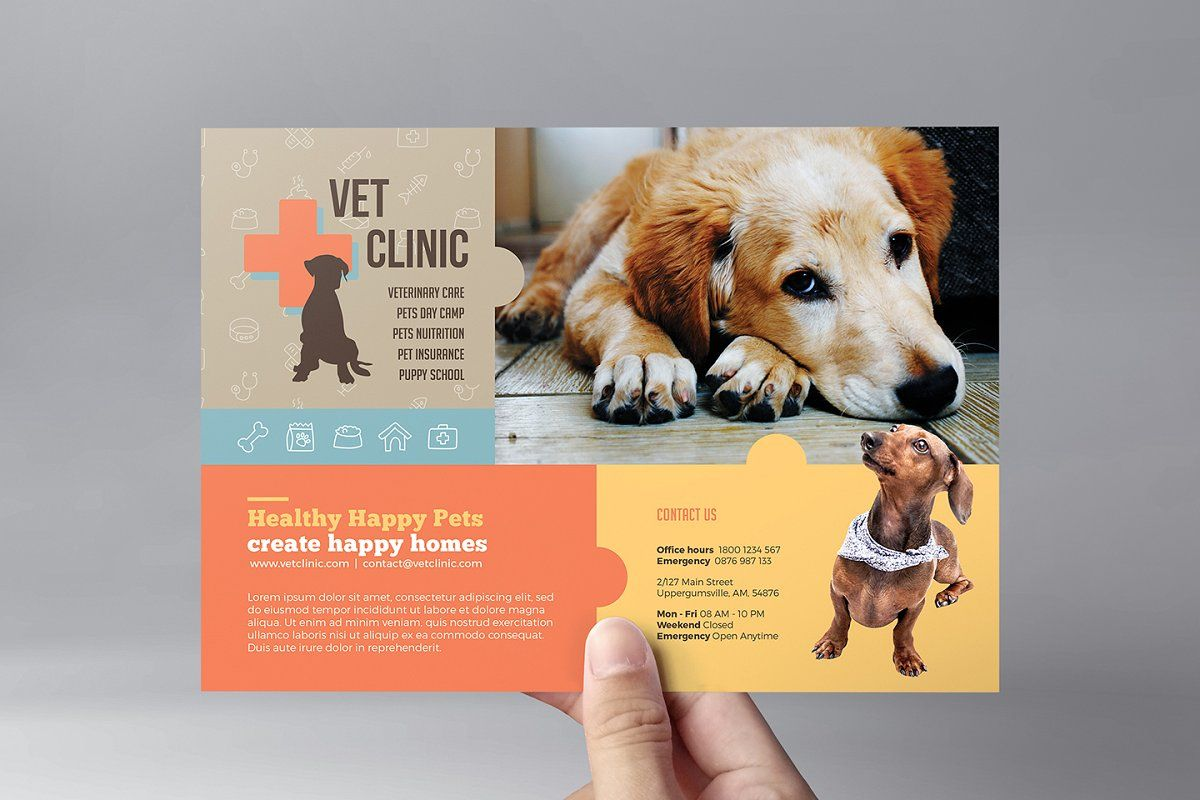 Vet Clinic Trifold Brochure Template in 2020 Vet clinics