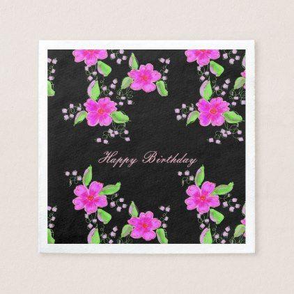 Pretty pink flowered paper napkins with black mightylinksfo