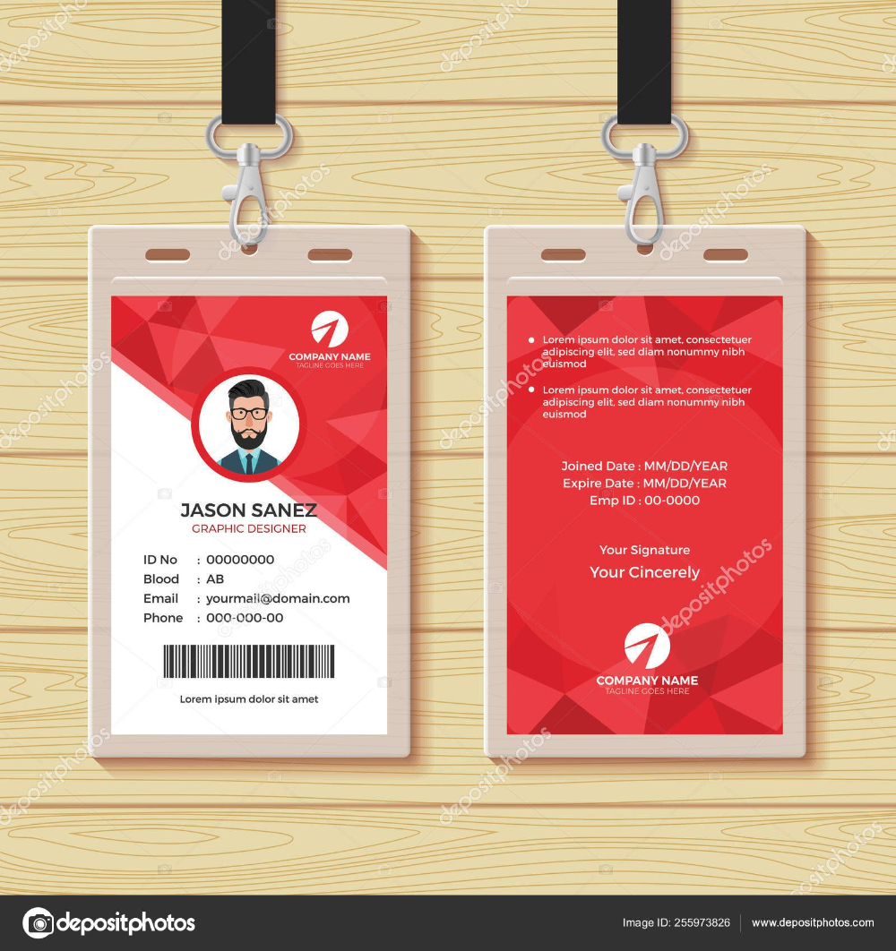 Red Geometric Employee Id Card Design Template Stock Vector Pertaining To Company Id Card Design Template Employee Id Card Id Card Template Employees Card