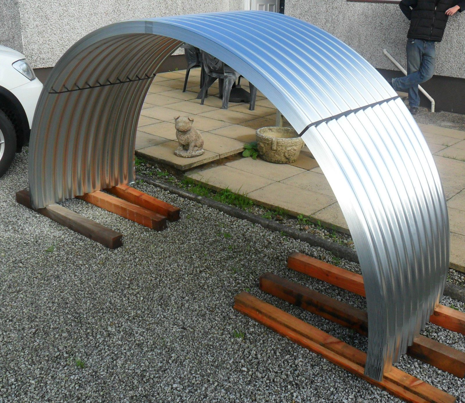 Brand New Galvanised Steel Corrugated Curved Roofing Sheets Pig Arks Ebay Flat Roof Shed Timber Roof Gazebo Roof