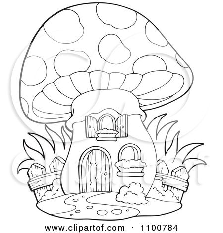 Clipart Outlined Mushroom House With A Wooden Fence Royalty Free
