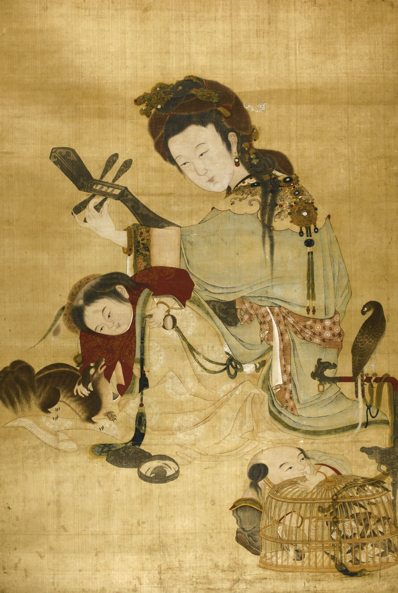 Rp Painting Of Lady And Children Qing Dynasty
