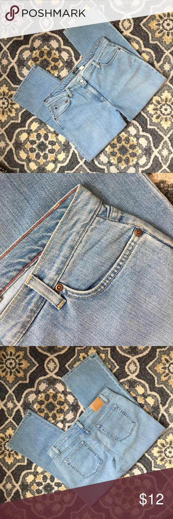 J Crew Straight Leg Relaxed Fit Jeans SZ 14 J Crew straight leg relaxed jeans in light stonewash. Classic five pocket style. Perfect condition - no damage or stains. Laundered once according to instructions but sat in the closet and were never worn. SZ 24. Great pair of classic J Crew jeans! J. Crew Jeans