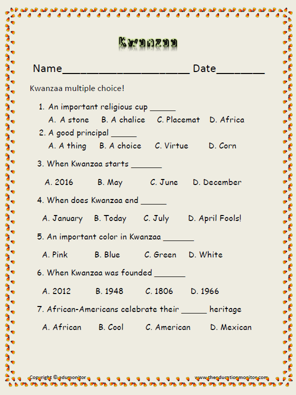 African American Kwanzaa Holiday-free printable worksheets ...