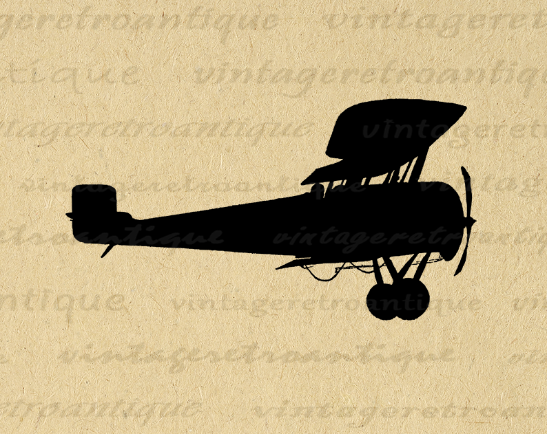 Antique Airplane Silhouette Image Digital Printable Plane