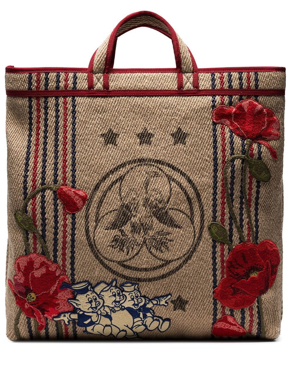 Gucci Gucci Beige Floral Embroidered Pig Patch Jute Tote Bag