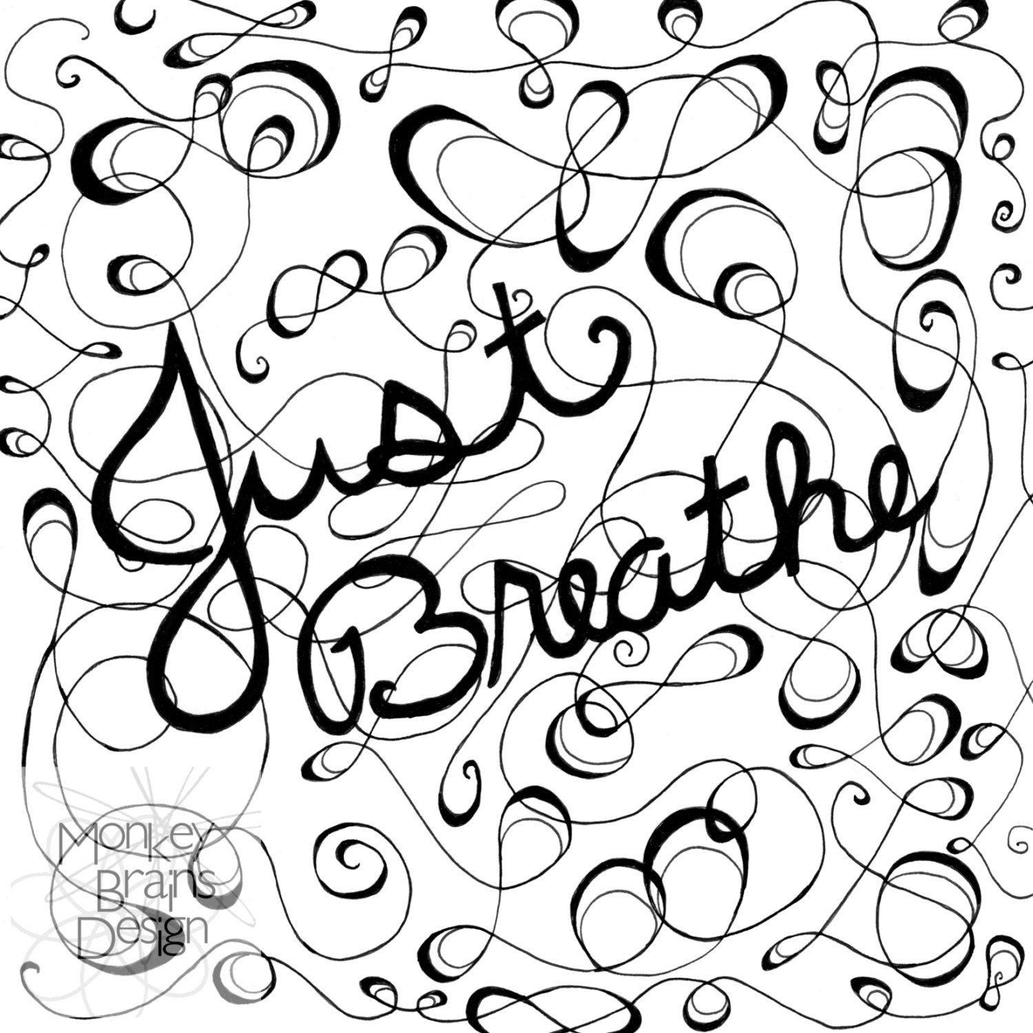 Adult Coloring Color Your Own Just Breathe Print Etsy Print