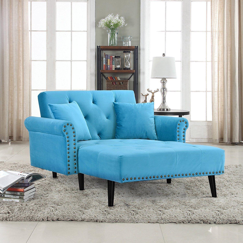 Modern Velvet Recliner Sleeper Chaise Lounge Chair Blue Chaise Lounge Mid Century Modern Chaise Lounge Furniture