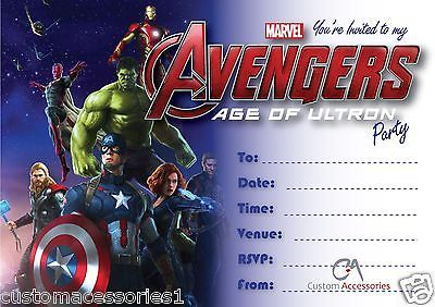 Avengers Age Of Ultron Marvel Party Invitations Kids Childrens Invites Birthday Cards Stati Avengers Birthday Party Invitations Kids Birthday Card Template