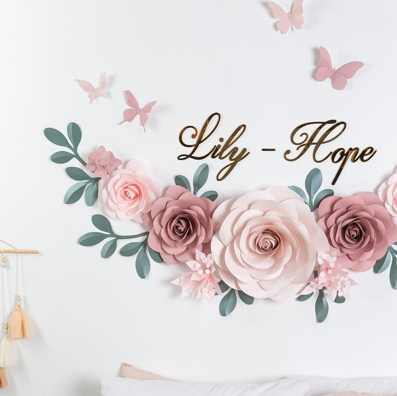 Large Paper Flowers - Set of 15 Large Paper Flowers - Paper Flowers Wall Decor- Nursery Wall Flowers (code:#301)