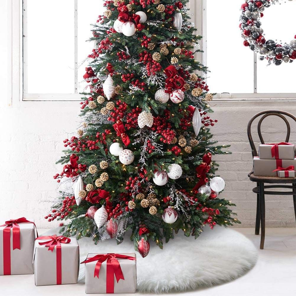 48 Inches Christmas Tree Skirt Upgrade Thick Snow White Faux Fur Tree Skirts Decorations For Xmas New Year Party Home Decor Pet Favors Tree Skirt Cf18h9ei Black Christmas
