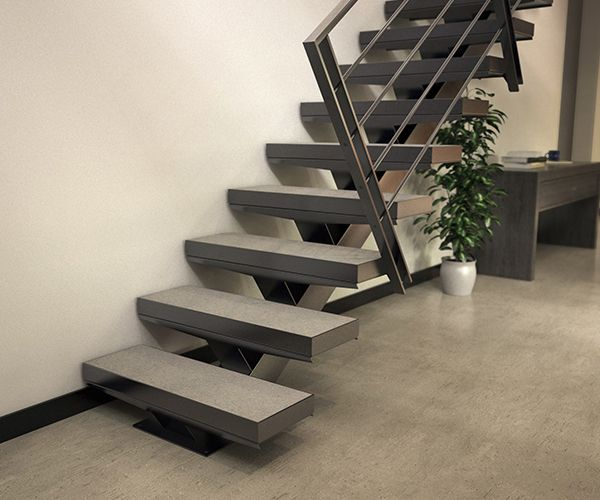 Escalier A Limon Central Avec Garde Corps Metallique 4 Lisses
