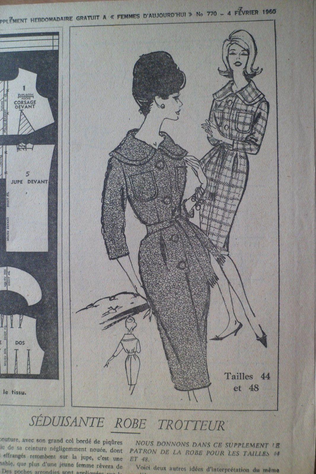 Patron Vintage Femmes D'Aujourd'HUI 1960 Robe Trotteur T 44 ET 48 | eBay