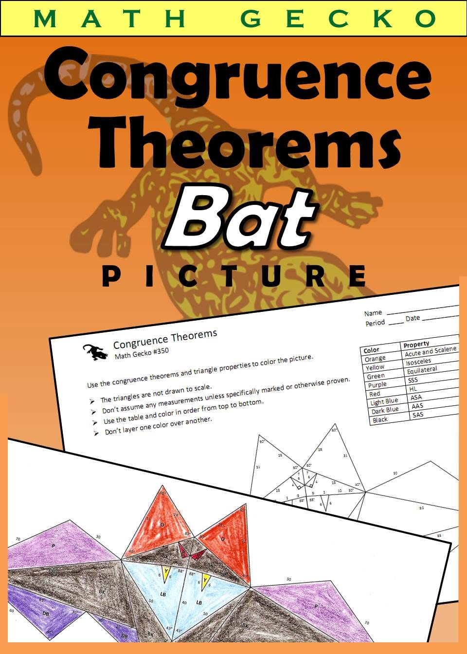Triangle Congruence Theorems Picture Bat Theorems Math Activities Halloween Worksheets