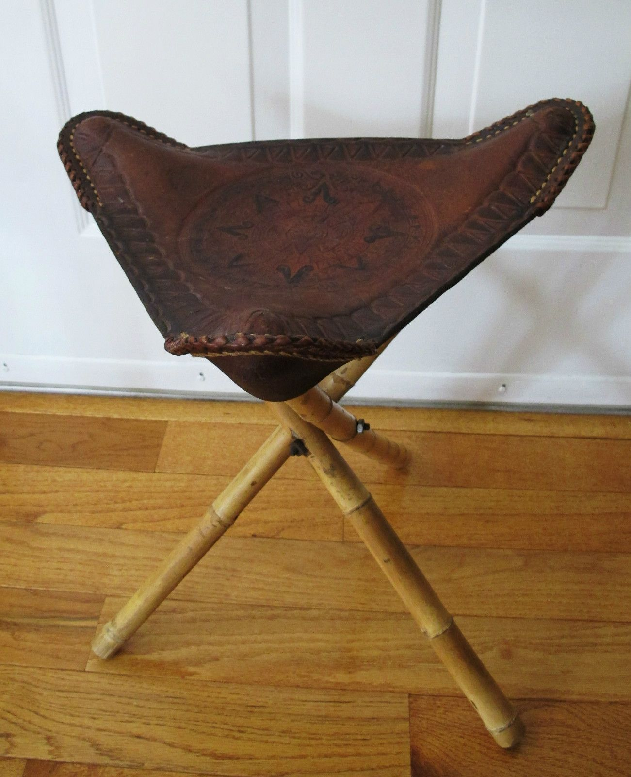 Vintage Leather Tripod Stool Stamped Hand Tooled Bamboo
