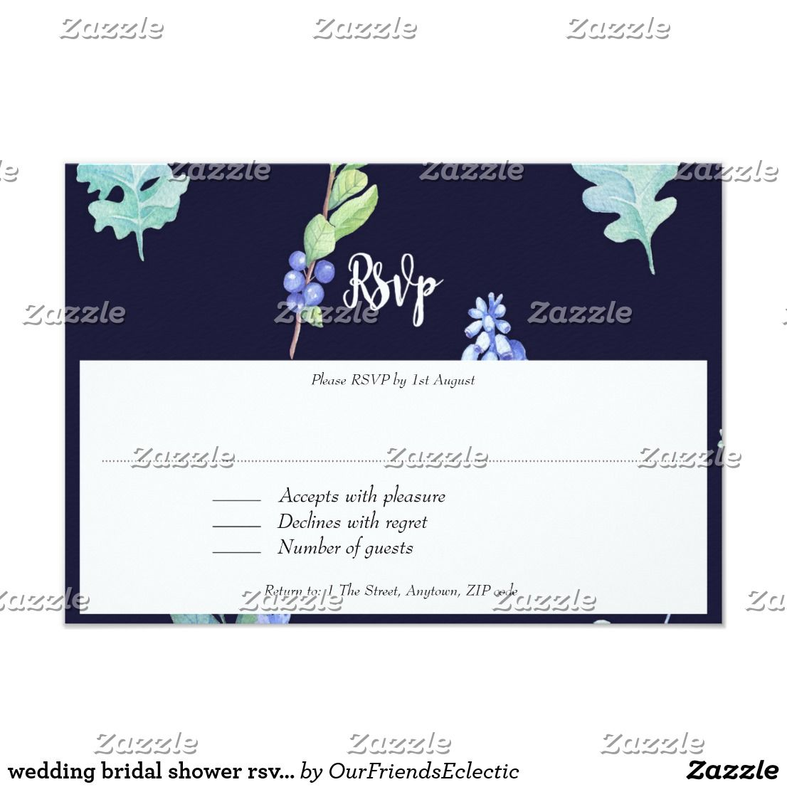 wedding bridal shower rsvp card navy blue floral