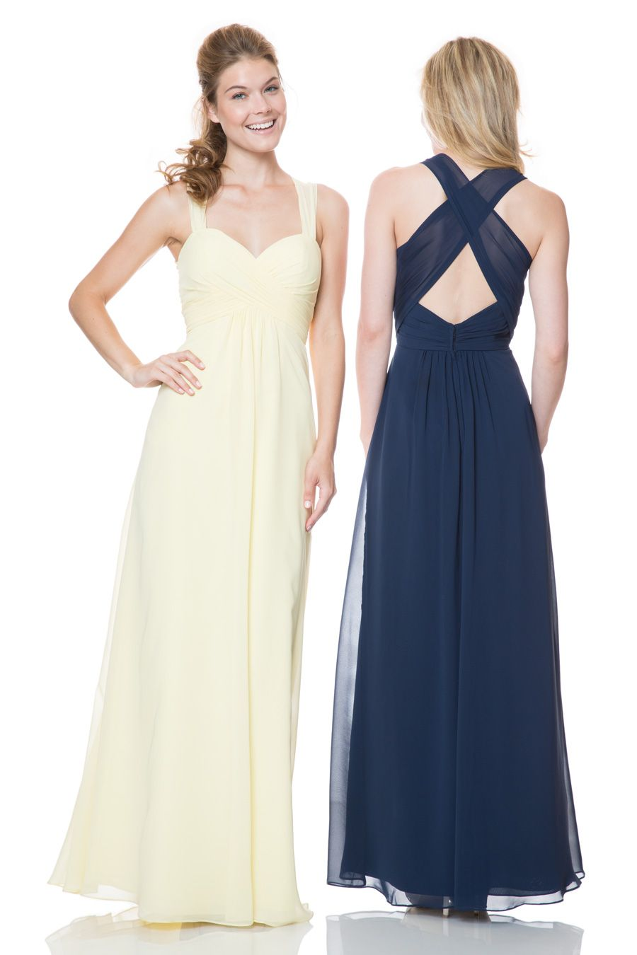 This romantic gown from Bari Jay has a shirred bodice that connects to  chiffon straps that criss cross in the back! This bridesmaids dress also  features an ... 457b544cb