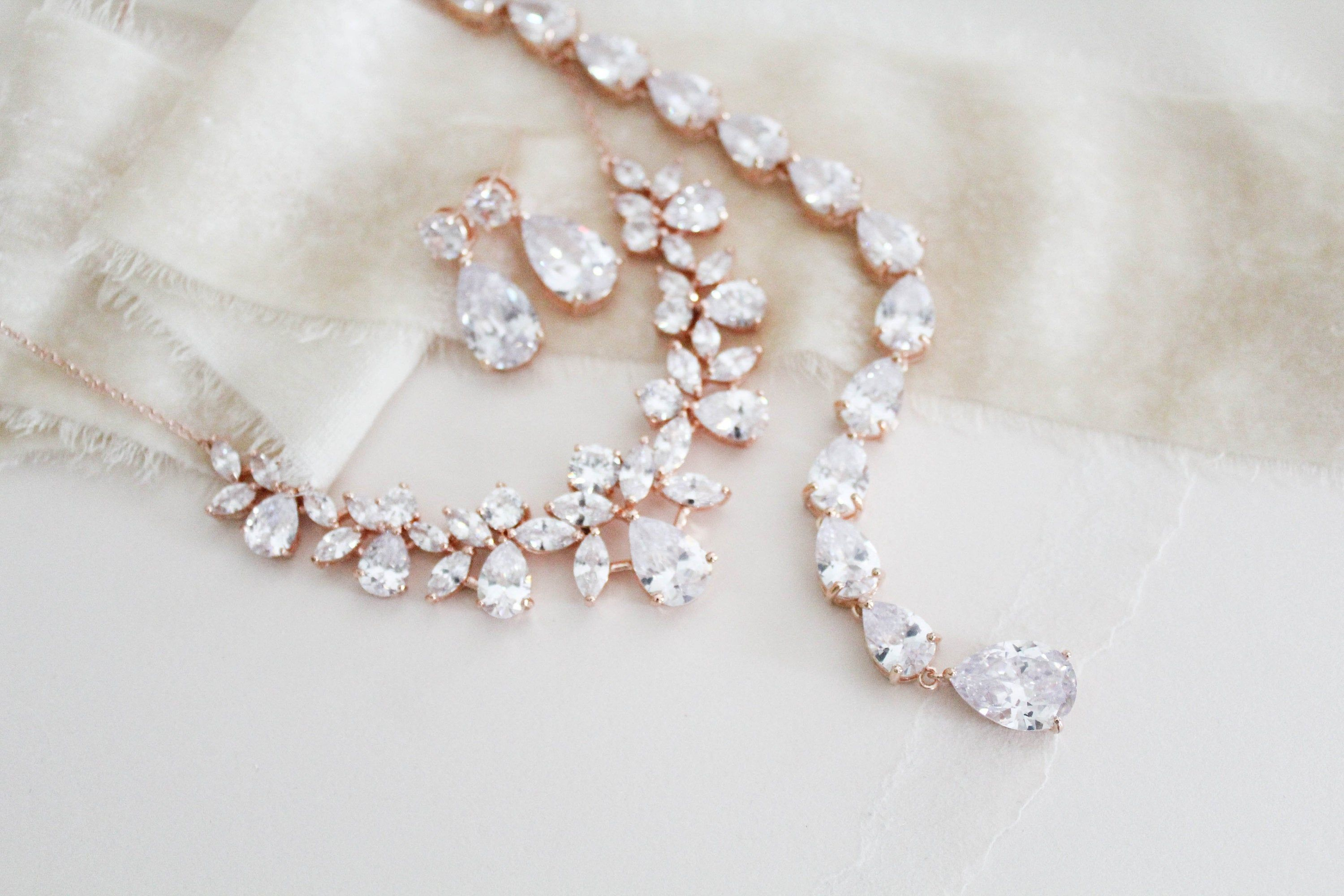 Rose Gold backdrop necklace Bridal necklace and earring set Bridal jewelry Wedding earrings Wedding jewelry set Bridal back necklace