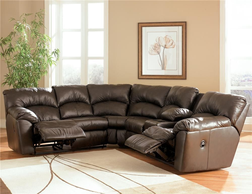 Kellum Chocolate Reclining Leather Sectional With