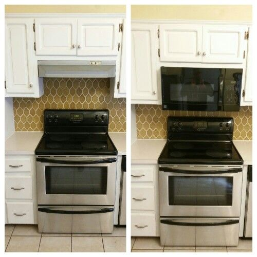 Replaced Range Hood With Vented Microwave Kitchen Vent Top Kitchen Cabinets Home Remodeling
