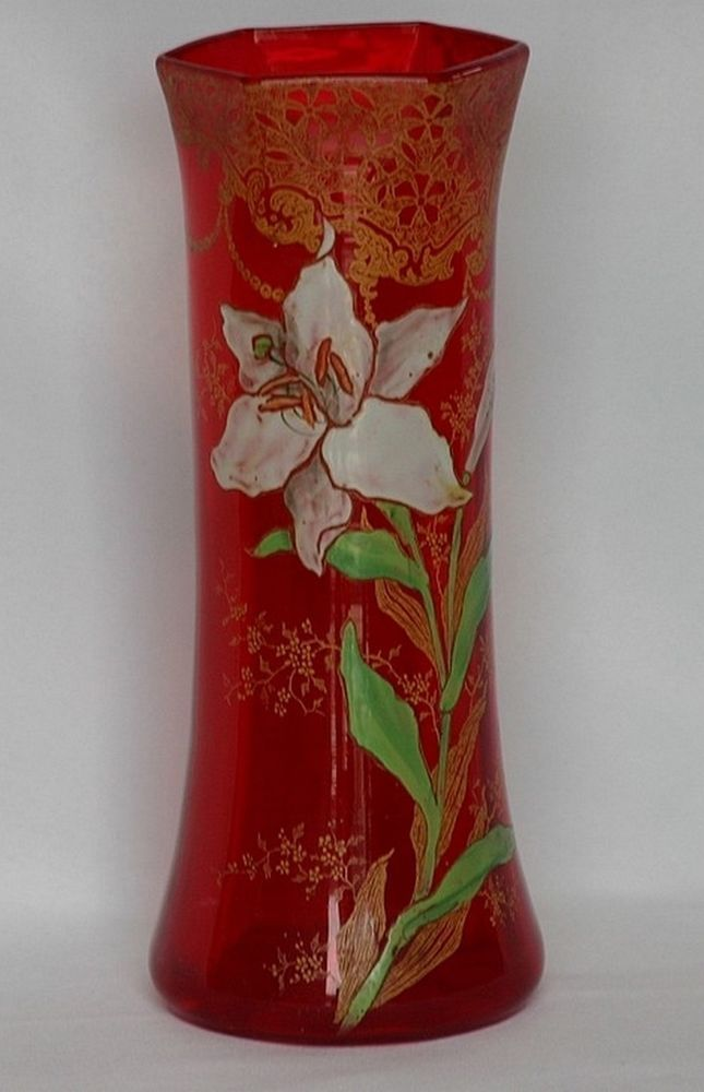 legras vase emaille tube teinte rouge d cor floral 1839 1916 legras mont joye pinterest. Black Bedroom Furniture Sets. Home Design Ideas