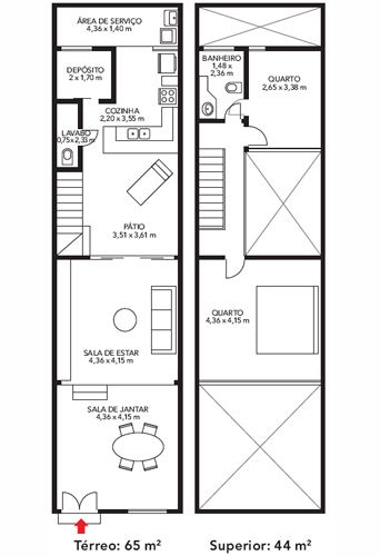 Plano de casa de 2 pisos en 65m2 planos de casas gratis for Planos de casas para construir gratis
