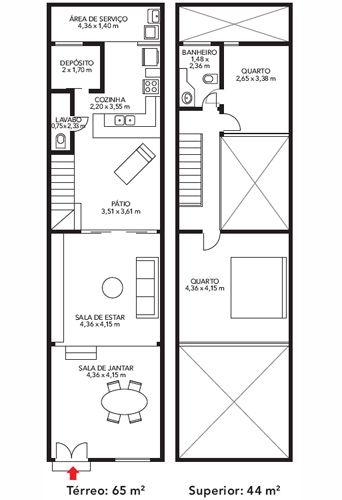 Plano de casa de 2 pisos en 65m2 planos de casas gratis for Planos de casas de dos pisos gratis