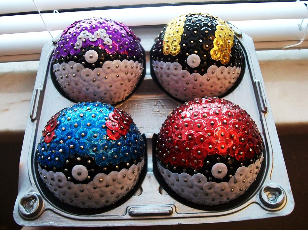 Polystyrene Balls Christmas Decorations Pokemon Ornaments Made From Sewing Pins Sequins And Styrofoam