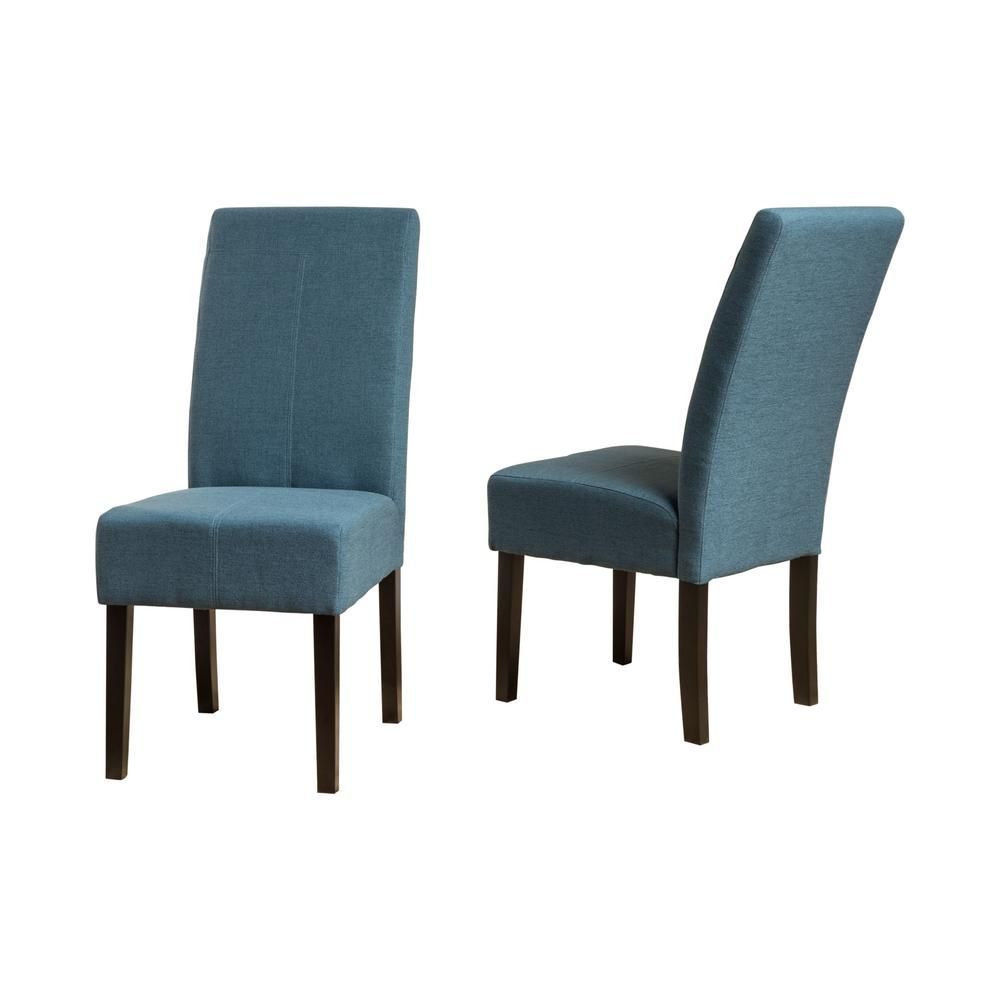 Noble House Pertica Blue Fabric T Stitch Dining Chairs Set Of 2 Dining Chairs Fabric Dining Chairs Upholstered Dining Chairs