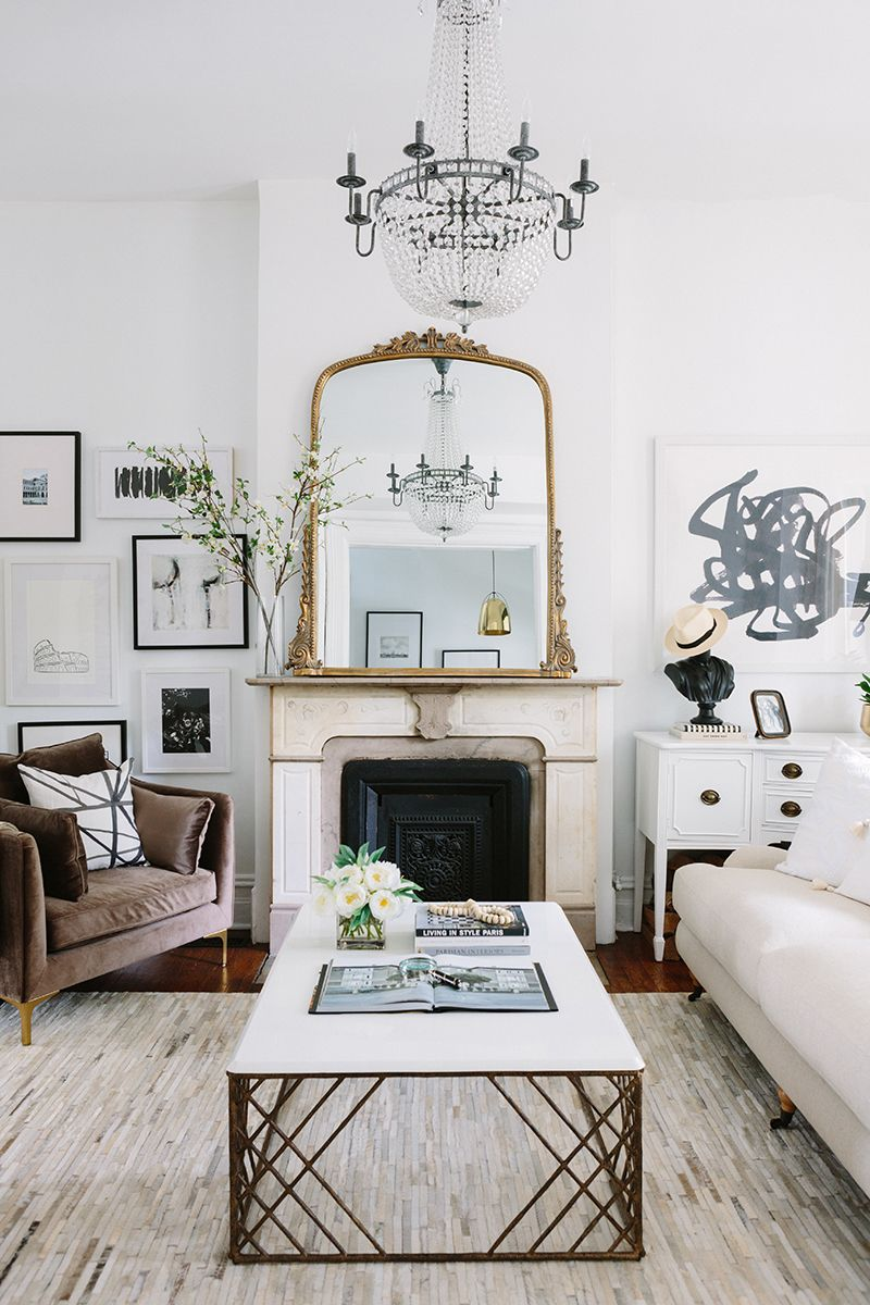 A Gorgeous Parisian Inspired Apartment In Chicago. French Inspired Living  Room Vintage Fireplace