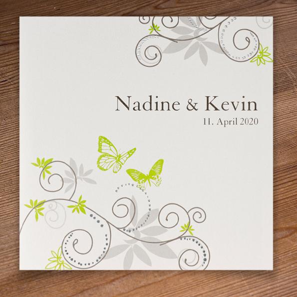 Hochzeitseinladungen Grun Und Schmetterlinge Einladungskarten Zur