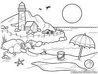 Gambar Mewarnai Pemandangan Pantai Dengan Gambar Halaman