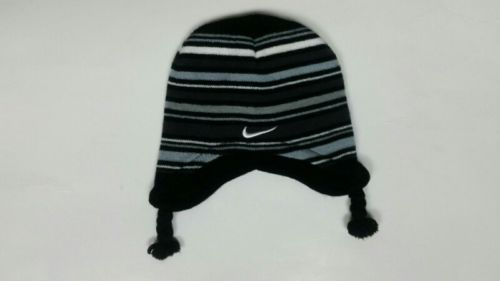 467843d92c4 Nike-Beanie-Winter-Hat-Toddler-Black-Gray-Stripe