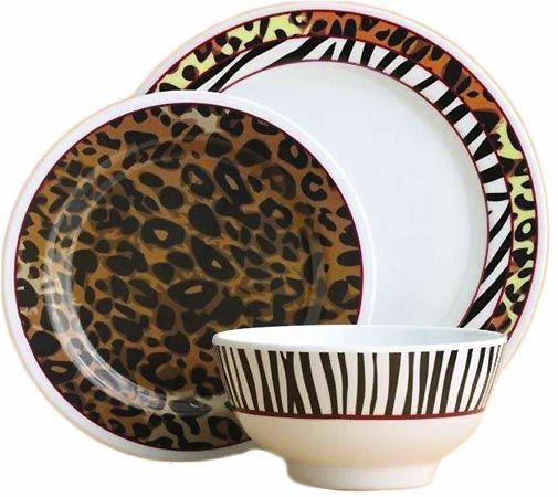 Animal Print Dinnerware 12 Pc Set My Wish List Plates Decor