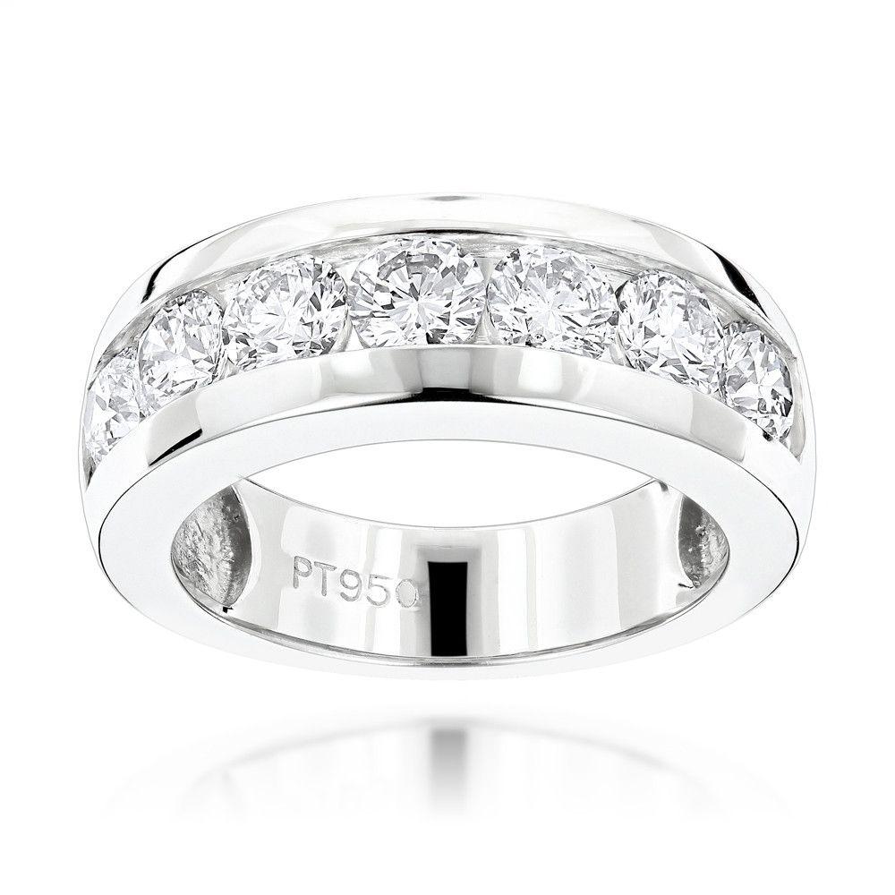 7 Stone Round Diamond Bands Platinum Diamond Wedding Ring For Men 1 5ct Mens Diamond Wedding Bands Wedding Rings Unique Diamond Wedding Bands