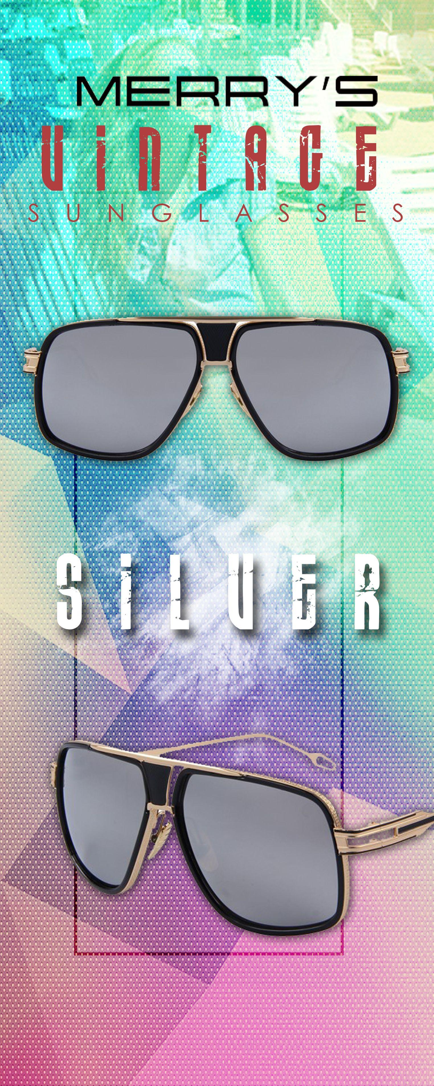 5eb33ba5be Men s UV400 Vintage Big Frame Summer Sun Glasses - Silver merry s Men s affordable  top brand designer