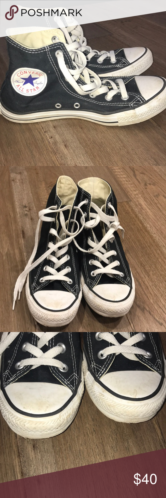 20aae49ec4b4 Black Converse High tops Lightly worn black high tops A few scuffs (I can  remove before shipping) Men s 6 women s 8 Converse Shoes Sneakers