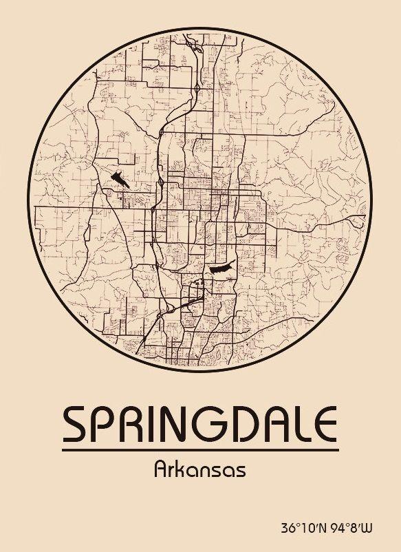 Karte / Map ~ Springdale, Arkansas - Vereinigte Staaten von ...