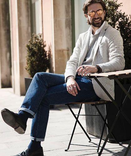 【大人カジュアル】ジャケット×スウェット×ジーンズの着こなし(メンズ) | Italy Web